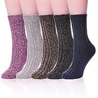 LANLEO 5 Pairs Womens Thick Knit Soft Cotton Wool Warm Winter Socks