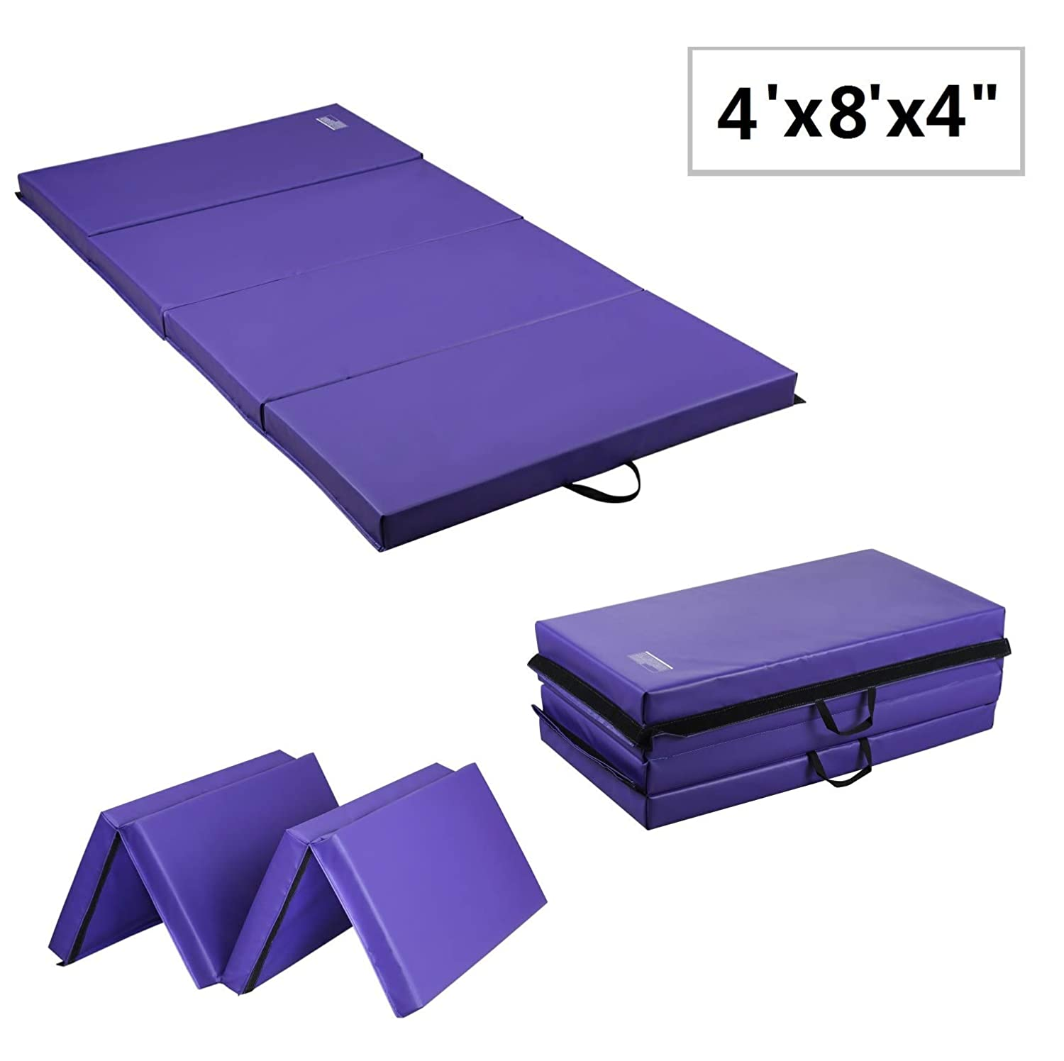 LEISURELIFE Super Thick Folding Gym Mat 4 inch with Carrying Handles for Kids, Blue Purple, PU PVC