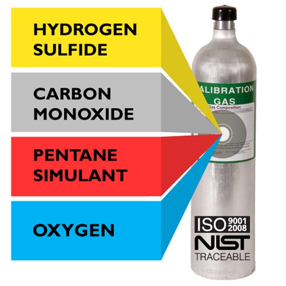Multi Calibration Gas Mix: 20 PPM Hydrogen Sulfide, 60 PPM Carbon Monoxide, 1.45% Methane (58% LEL Pentane Simulant), 15% Oxygen, Balance Nitrogen (29 Liter)