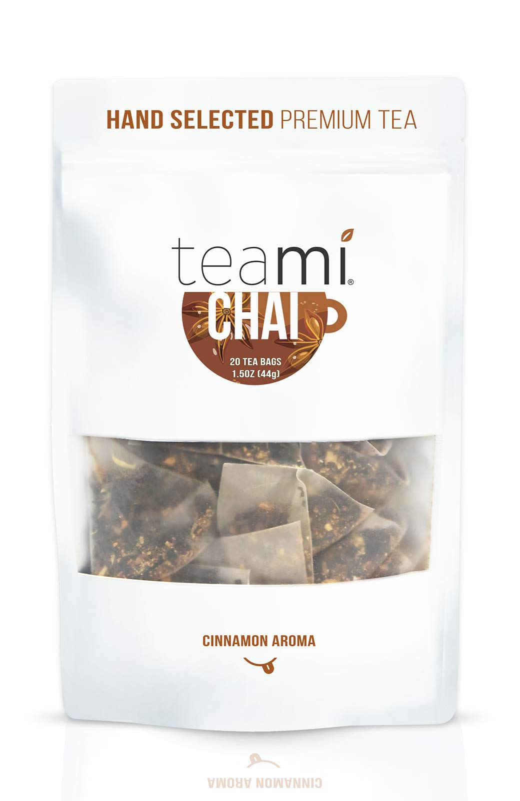 Teami Chai Black Tea Bags - 20 Count - with Cardamom, Ginger, and Cinnamon - Great for Lattes and Smoothies