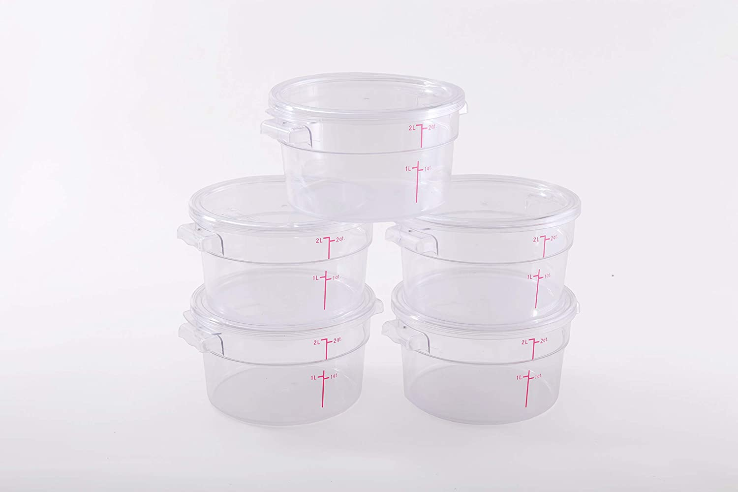 Hakka 2 Qt Commercial Grade Round Food Storage Containers with Lids,Polycarbonate,Clear - Case of 5