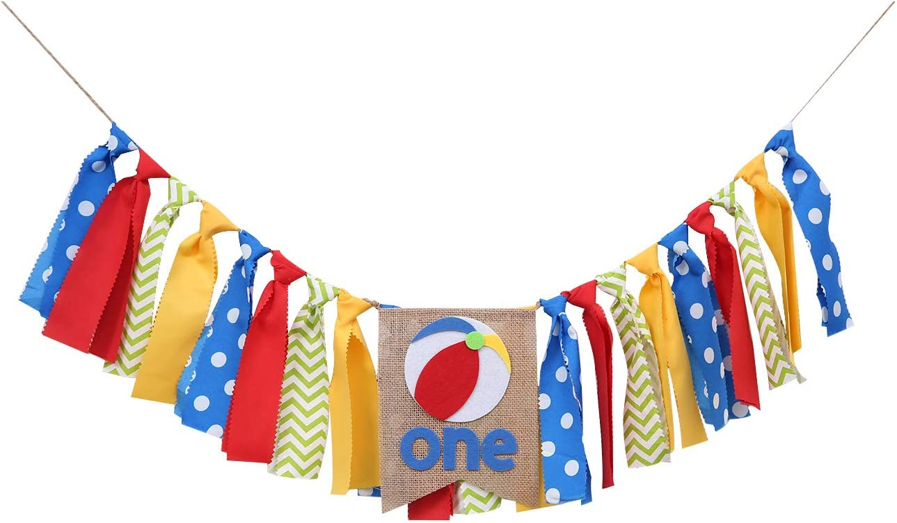 Sports Party Theme Birthday Banner - Beach Ball Banner for 1st Birthday - First Birthday Banner for Baby - Smash Cake Decor,Photo Booth Props - 1st Birthday Party Decor Pull Flag(Yellow Red Blue)