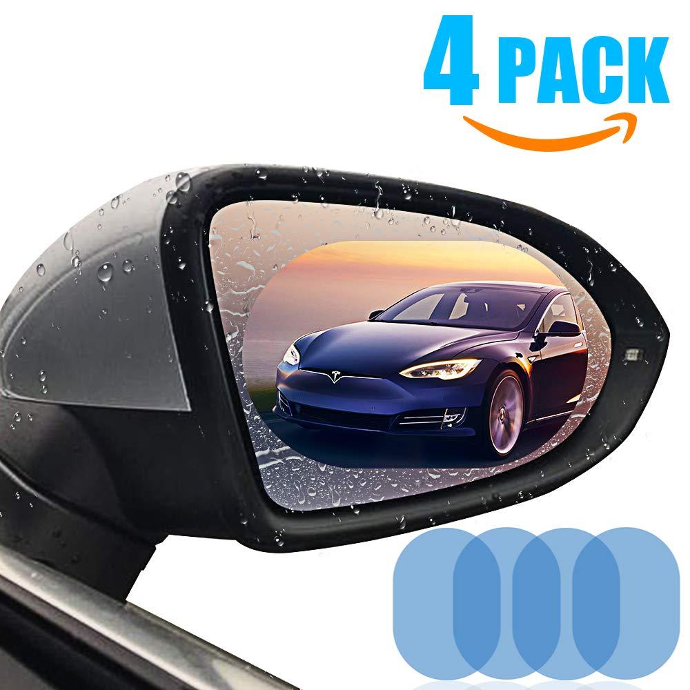 Car Rearview Mirror Film,4PCS HD Anti-fog Waterproof Soft Protective Film Universal Car Bus Screen Protector, Anti-glare,Anti-scratch,Rainproof,Rear View Mirror Window Clear Nano Film (clear)