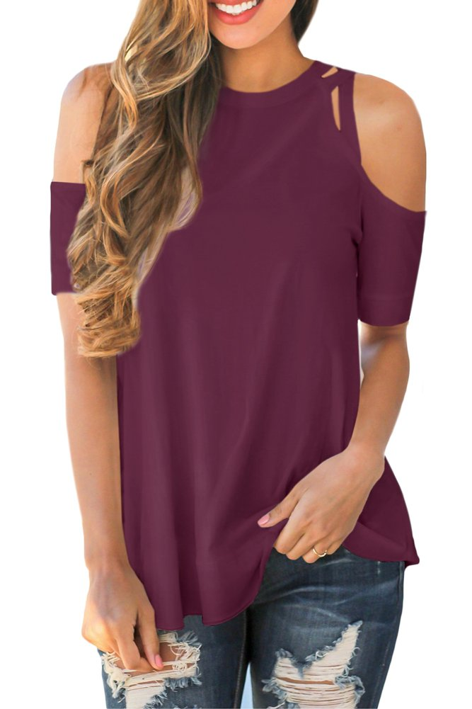 For G and PL Womens Short Sleeve Loose Fit Cotton Blouse Cold Shoulder Casual Summer Swing Tunic Tops Purple XL
