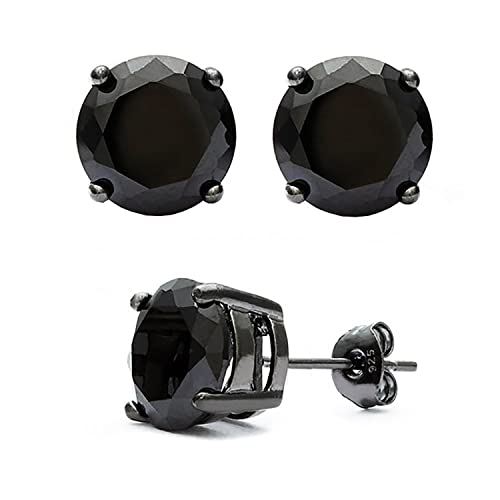 7215217599 Amazon.com: Unisex Black on Black Overlay 925 Sterling Silver Stud Earrings.  Top Quality Black Cz Round Stones: Jewelry
