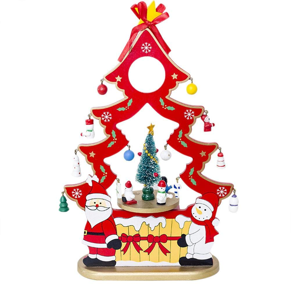 cheerfulus Christmas Tree Music Box Rotating Wooden Xmas Music Box with Snowman Crafts Ornaments