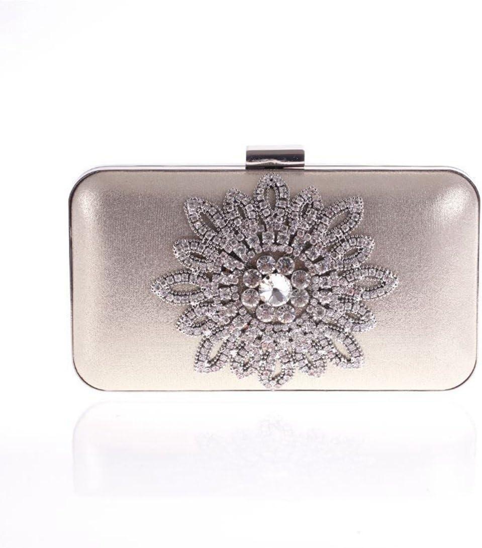QARYYQ Fashion Handbags New Korean Diamond Bag Sun Flower Evening Banquet Bag Korean Version of The Bag Evening Package Color : Gold