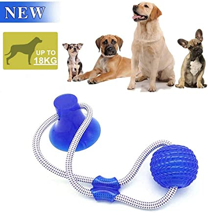 Pet Rubber Ball Toy with Suction Cup Safe Molar Chew Toys Teeth Cleaning Ball Multifunction Interactive Ropes Toys