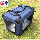 """ZuHucpts Large Folding Soft Dog Crate Kennel Cage , Indoor & Outdoor Pet Home,3-Door Puppy Cat Travel Carrier included Handle + Straps 