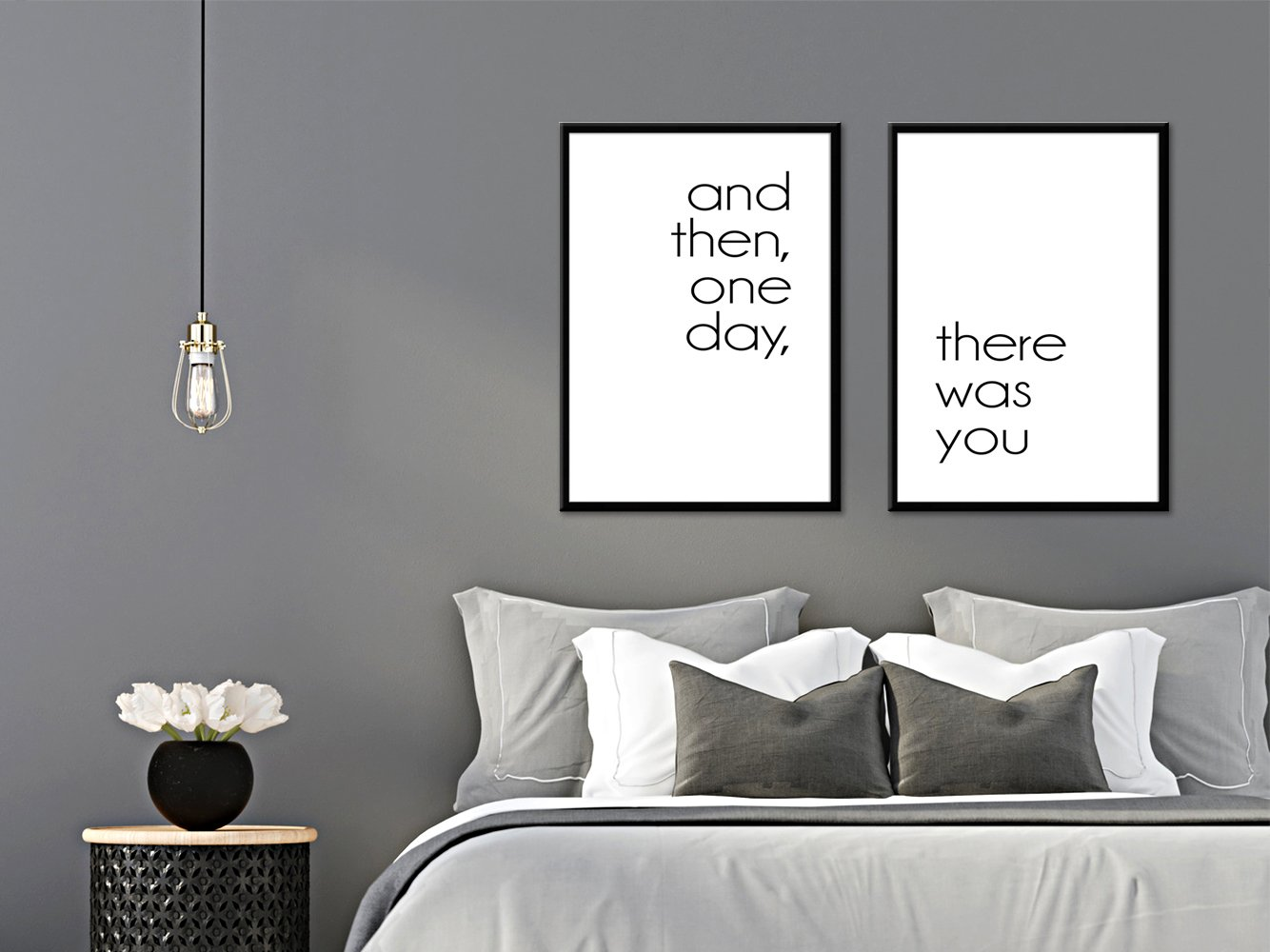 Artissimo, Set Set Set Spruchbilder gerahmt, 2 Stück je 51x71cm, PE6225-ER, and Then, One Day, There was You, Bild, Wandbild, Wanddekoration, Poster mit Spruch, Typographie, Typografie f48384