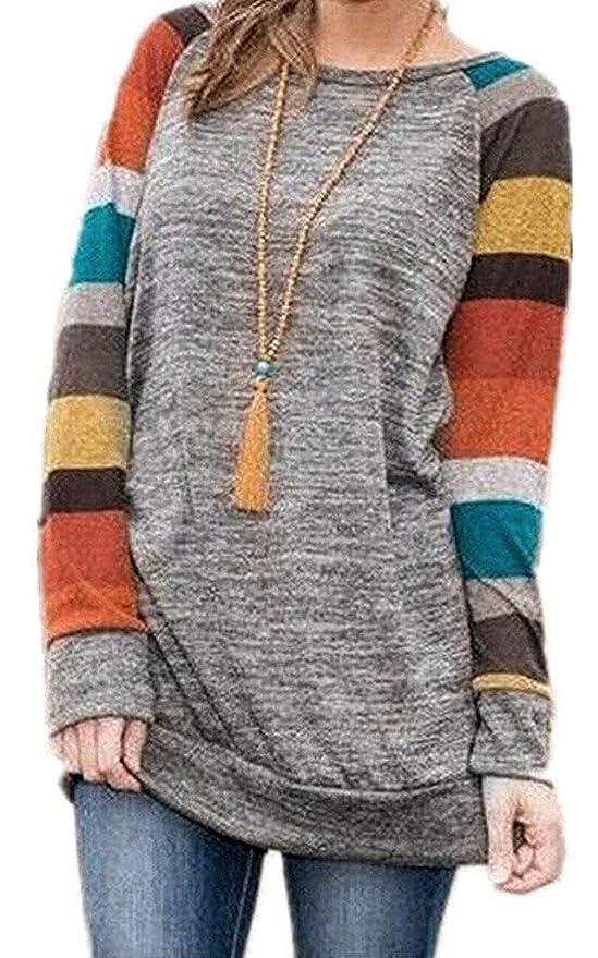 ... Cárdigan Striped Camiseta Cuello Redondo con Manga Larga Sudadera Cardigan Casual Loose Oversize Jerséis T-Shirt tee Tops: Amazon.es: Ropa y accesorios