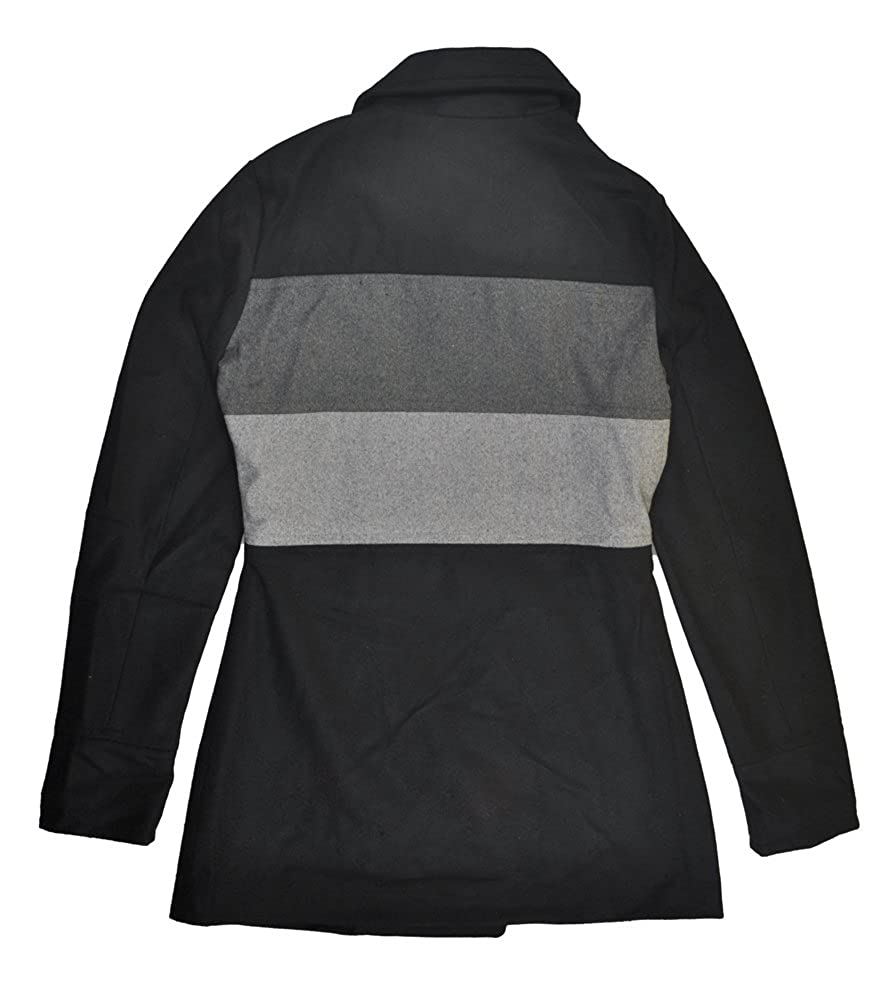 13f46b09c66 Amazon.com  Yoki Womens Black   Grey Double-Breasted Faux Wool Pea Coat  (Large)  Clothing