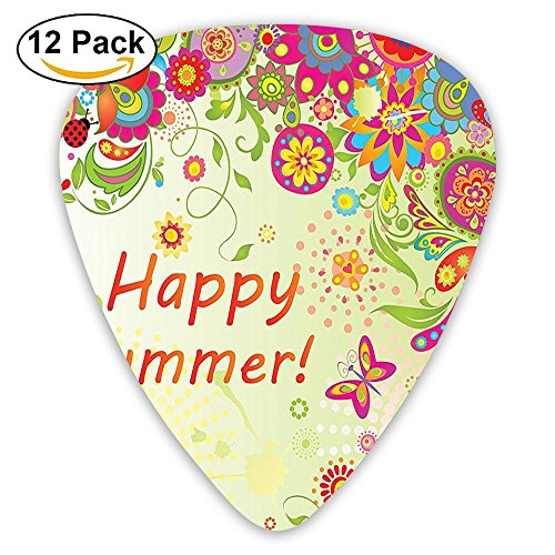Newfood Ss Blossoms Bud Flowers Leaves Paisley Indian Motifs With Hello Summer Quote Guitar Picks 12/Pack Set