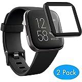 MoKo 2-Pack Screen Protector Compatible with Fitbit Versa 2, Premium [Anti-Scratch] HD Clear Film Anti-Bubble Screen Protector Fit Fitbit Versa 2 Smartwatch - Clear & Black