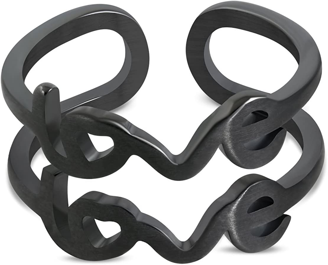 Stainless Steel Black Matte Finished Love Monogram Fancy Cuff Ring