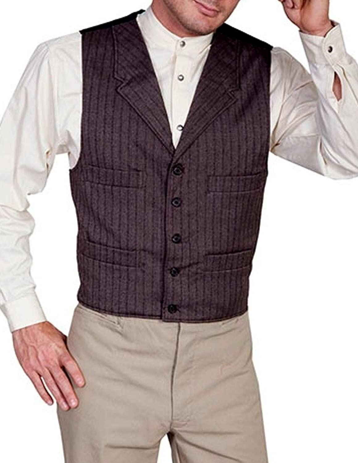 Men's Vintage Vests, Sweater Vests Wahmaker By Scully Mens Old West Four Pocket Striped Vest - 541164-Gry $146.37 AT vintagedancer.com