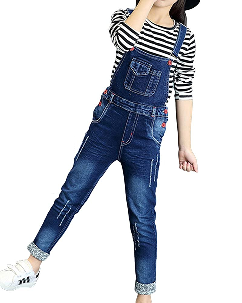 Girls Dungaree Full Length Jumpsuit Pinafore Denim Overalls Slim Fit Jeans