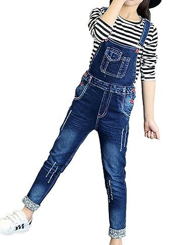ShiFan Mädchen Kinder Latzhose Freizeit Jumpsuit Lang Overall Jeans mit Hosenträger