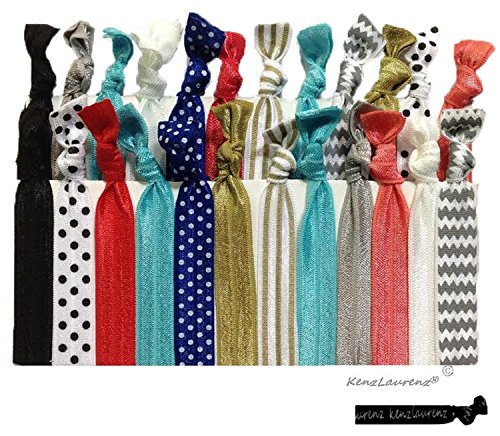 Premium No Crease Ribbon Hair Ties - No Damage Ouchless Creaseless Elastic Ponytail Holders - Hairbands Hair Styling Accessories - By Kenz Laurenz (25 Hair Ties - Premium)
