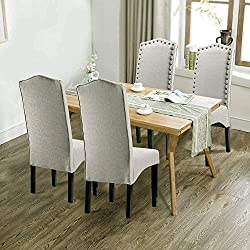 "Merax PP036312LAA Dining Chair Accent Room Set with Solid Wood Legs, Beige,Set of 2, 18.11"" L x 24.01"" W x 40.95"" H, Light Beige"