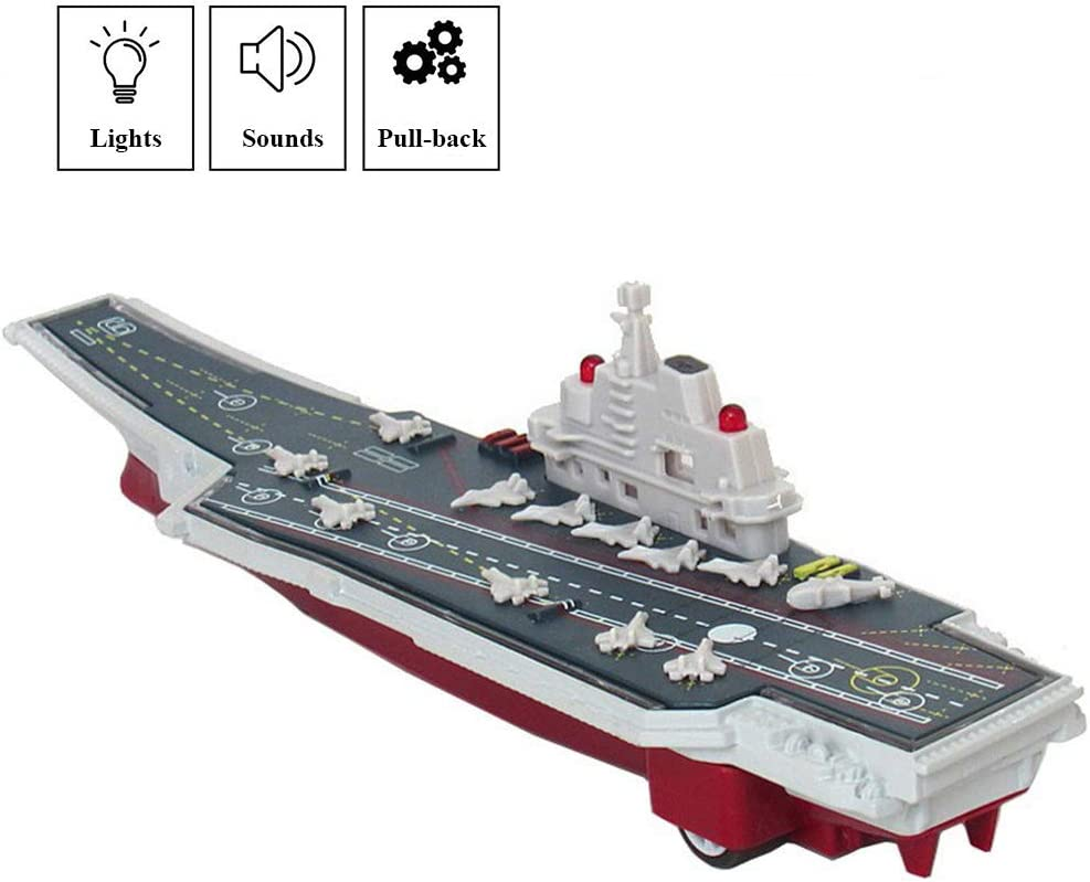 CORPER TOYS Aircraft Carrier Toy Military Vehicle Die-cast Metal Battleship Mini Pull Back Model Warship with Lights and Sounds