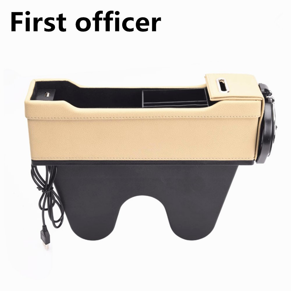 First Officer, Black Universal Car Seat Crevice Storage Box USB Organizer Seat Gap Bag in The Box Phone Charge Pad Travel Drink Holder Pocket Stowing Tidying