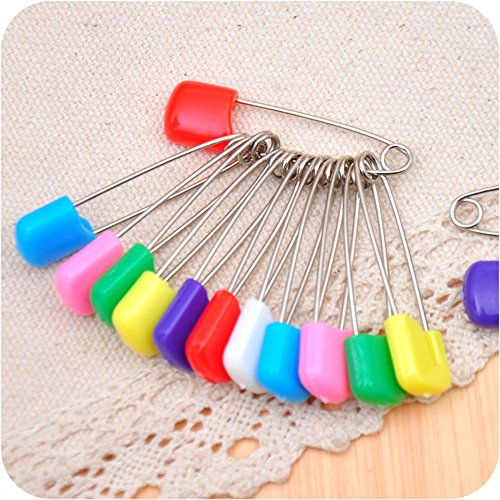 Eforlike Pack of 50 Assorted Color Plastic Baby Safety Pins Safety Locking Baby Cloth Nappy Pins (Large)
