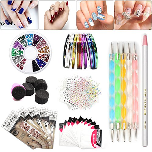 Nail Art Set, Tape Line Nail Stickers, Colored Rhinestones Decoration, 45 Sheets Nail Art Stickers, Gradient Nails Sponges for Color Fade Manicure, Dotting Marbleizing Pen for Pedicure (Pro Nail Art Set)