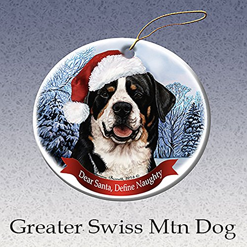 Holiday Pet Gifts Greater Swiss Mountain Dog Santa Hat Dog Porcelain - Dog Ornament Mountain Swiss