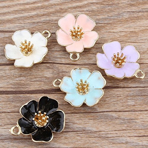 Stock Show 10Pcs/lot Beautiful Hibiscus Flower Pendant Alloy Enamel Charm DIY Accessories of Necklace Bracelet Headdress Jewelry Accessory DIY Craft, 5 Colors