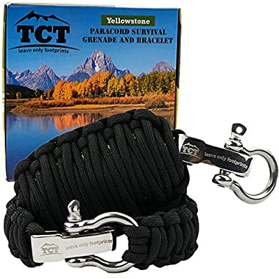 Paracord Grenade And Paracord Bracelet Set By The Camping Trail. Over 21 Ft Of Paracord And 17 Pieces Make This Great Survival Gear To Carry. This Survival Kit Makes A Great Xmas Gift For Men