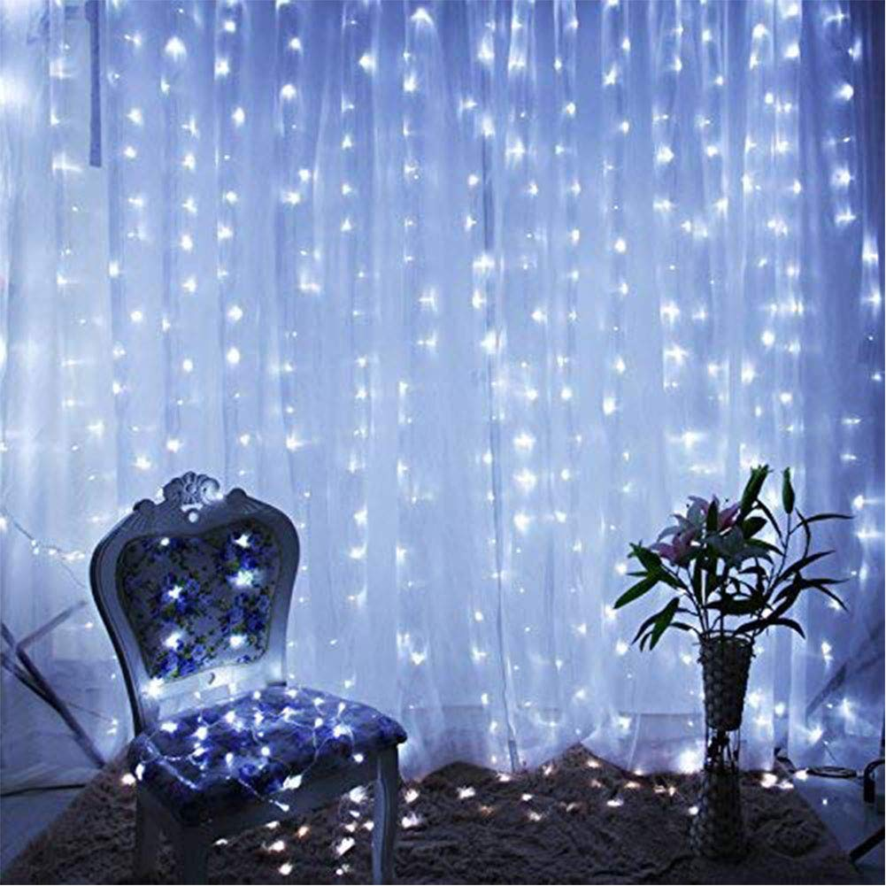 DLPIN 304 LED Window Curtain Fairy Lights with UL Listed for Wedding Home Party (White)