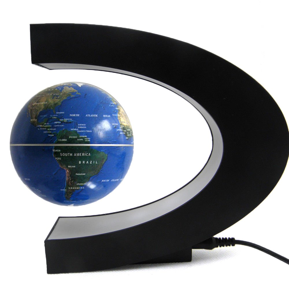 AENMIL C Shape Decoration Magnetic Levitation Floating Globe World Map with LED Light, Contains an Electro Magnet and a Magnetic Field Sensor Great for Work Desk, Side Table, School Room or Room (Black) Aenmil®