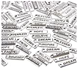 Word Charms Pendants- 100-Pack Engraved Motivational Charms Collection for Jewelry Making, Fashion Accessories, DIY Necklaces, Bracelets, Bangles, Silver, 0.8 x 0.25 Inches