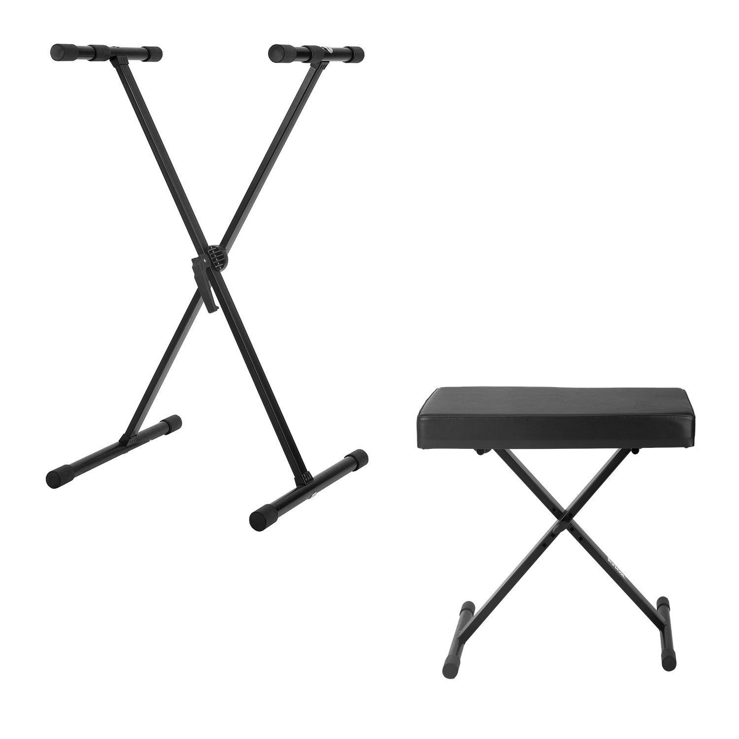 Knox Adjustable Single X Keyboard Stand with Knox Adjustable X Style Keyboard Bench