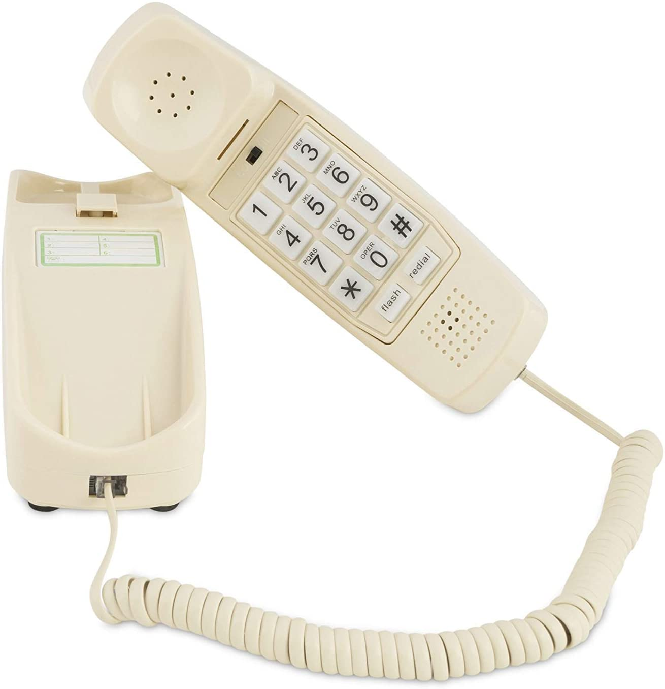 Trimline Corded Phone - Senior Landline Phones for Home – Home Phones for Seniors and the Hearing and Vision Impaired, Extra Loud Ringer, Large Backlit Keypad and Voice Amplification Wall Mount Ready!