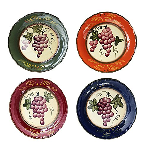 Tuscany Colorful Grapevine Hand Painted Ceramic Dinner Plates (Set of 4)