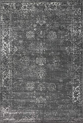 Raspberry Rug Rug - Unique Loom Sofia Collection Traditional Vintage Dark Gray Area Rug (6' x 9')