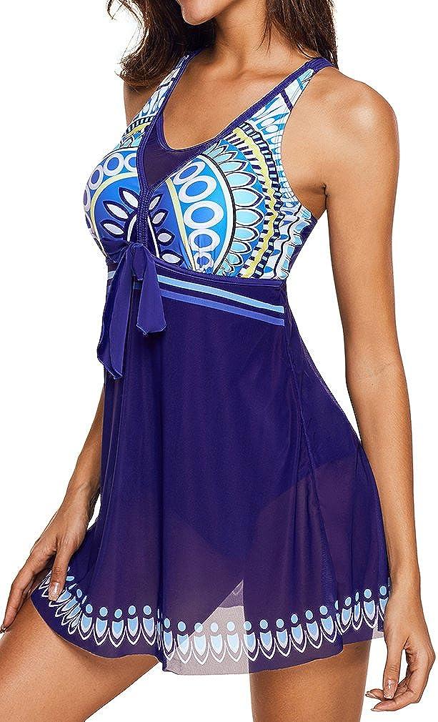 e376c9ba5f0afa EUDOLAH Damen Paisley Muster Bunt Badeanzüge Figurformender Badekleid mit Röckchen  Einteiler Badeshorts PEUBX-1 größeres Bild