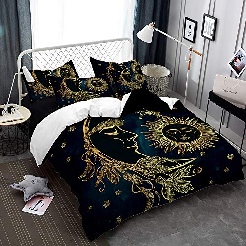Rose Auroma 3D Bedding Set Duvet 3D Golden Sun and Moon Bedding, Bohemian Bedspread 3 Piece Duvet Cover Sets Queen ()