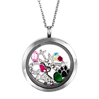 Amazon round build a charm glass floating locket jewelry round build a charm glass floating locket mozeypictures Choice Image