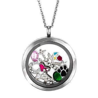 Amazon round build a charm glass floating locket jewelry round build a charm glass floating locket aloadofball Choice Image