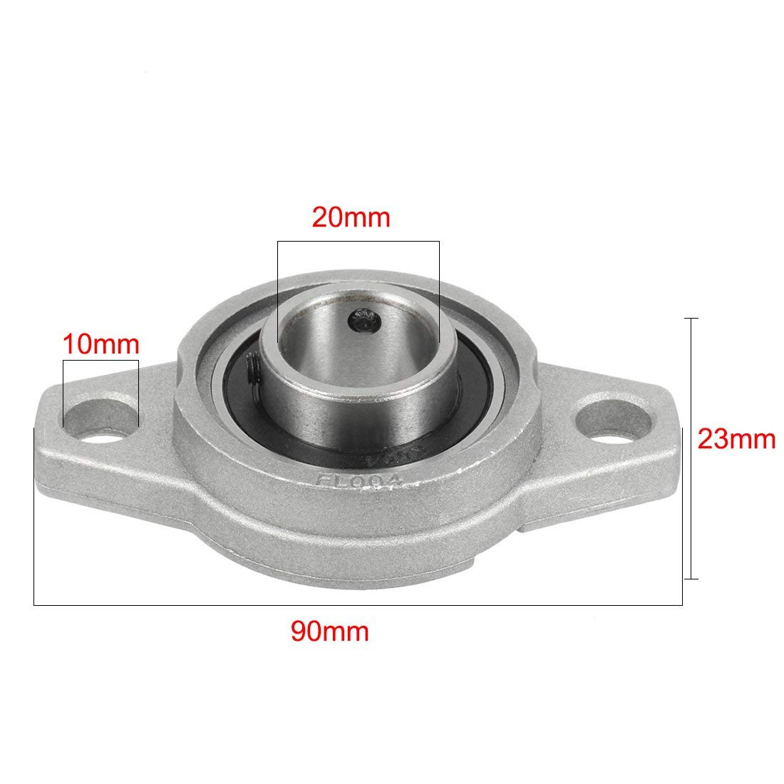 Xnrtop KFL004 20mm Zinc Alloy Self Aligning Pillow Block Flange Bearing Zinc Pack of 2