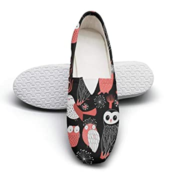 424f3142673d1 Amazon.com: Women's different red owls fashion casual canvas slip on ...