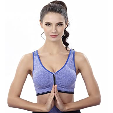 Women s Racerback Sports Bra with Zip Front High Impact Workout Gym Active  Yoga Sports Bras Blue