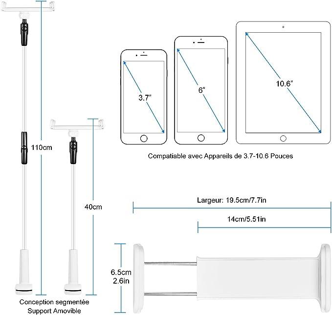 Support de Tablette Support de Support de t/él/éphone Portable pour iPad iPhone pour Samsung et Toutes Les tablettes de Smartphones Android Aurueda Support de Tablette r/églable Black