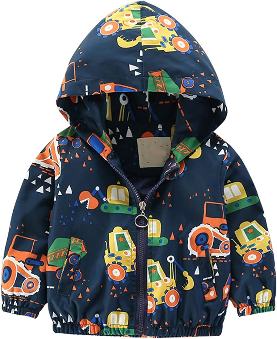 Boys Lightweight Aircraft Printed Jackets Hooded Windbreaker Coat in Spring or Autumn