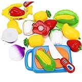JUNGEN 12PCS Juguete de Cocina Infantil, Juguete Frutas y Verduras, Cocina de Niños Corte Juguete