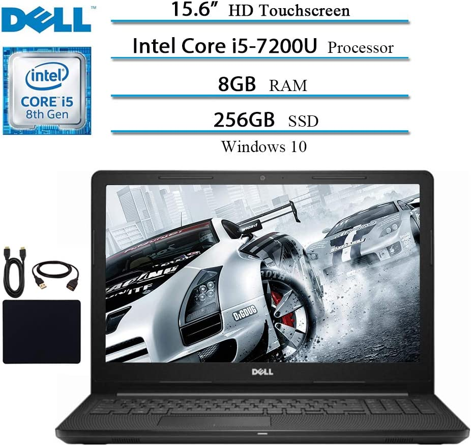 Dell Premium Inspiron 15.6 in Touchscreen Laptop Notebook Computer Tablet, Intel Core i5-7200U, 8GB RAM, 256GB SSD, Webcam, Bluetooth, WiFi, HDMI, Windows 10 W/ Accessories Bundle