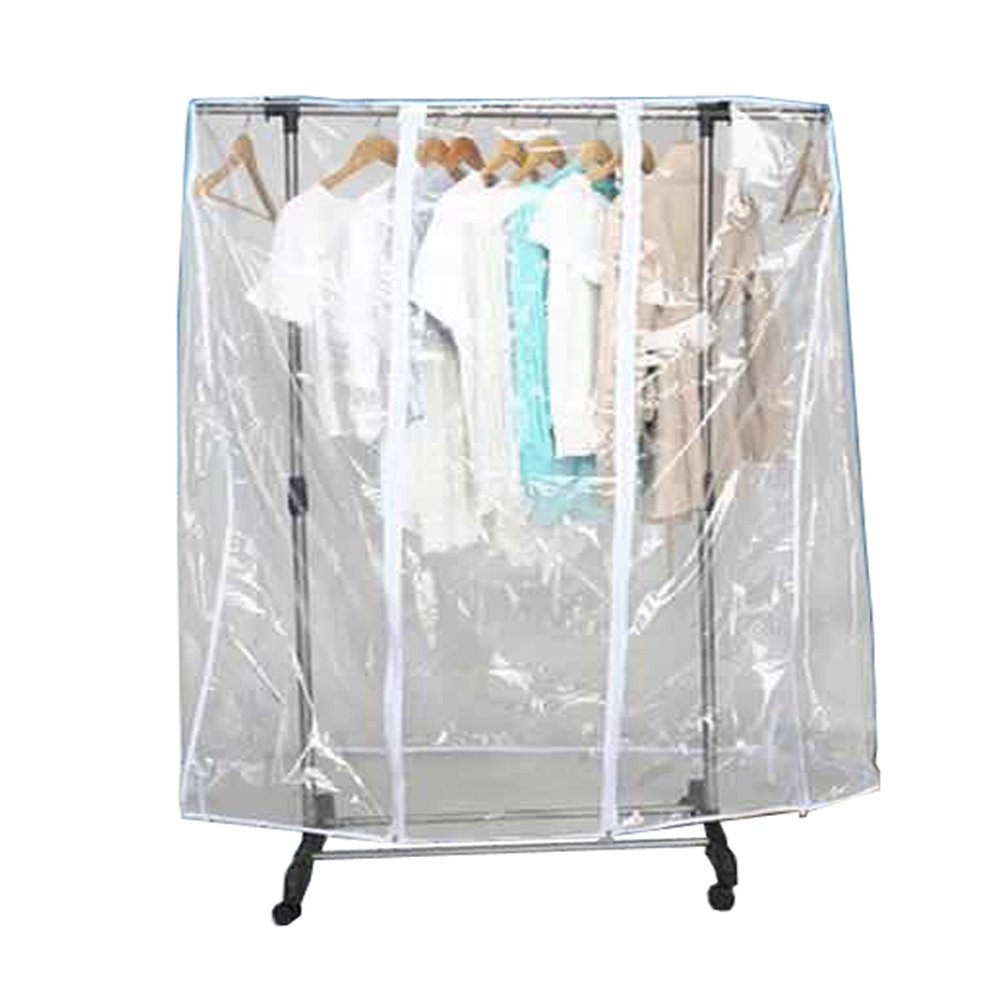 71'' LClear Transparent Clothing Rack Cover Dustproof Garment Shoulder Rack Covers Home Bedroom Clothing Dustproof Waterproof Protector with Durable Zipper and Roomy Pocket (L:71x20x52 inch)